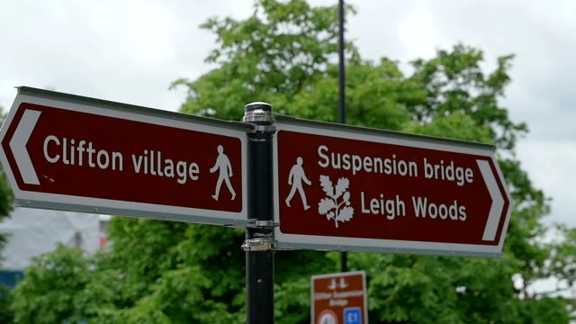 bristol: suspension bridge and clifton area: road sign video