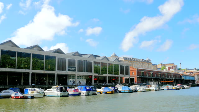 Bristol- timelapse of the river with pier , buildings and moored boats video