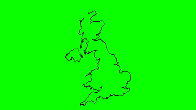 Britain drawing outline map on green screen isolated whiteboard Britain drawing outline map on green screen isolated whiteboard chroma key chromakey uk map stock videos & royalty-free footage