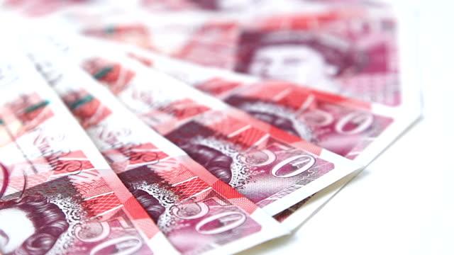 British £50 notes. video