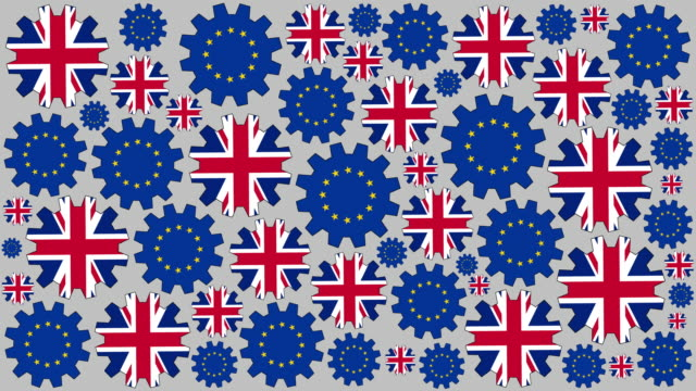 British and european flag gears spinning background video