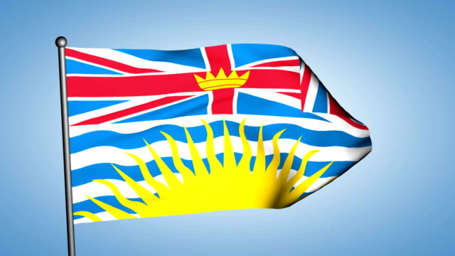 British Columbia provincial flag seamless loop video