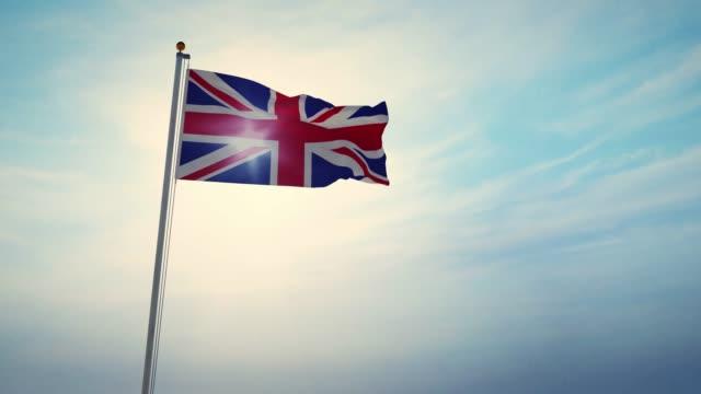 british flag waving shows union jack united kingdom national banner - 30fps 4k slow motion video - insygnia filmów i materiałów b-roll