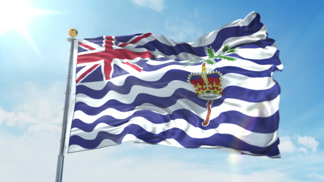 British Indian Ocean Territory flag waving in the wind against deep blue sky. National theme, international concept. 3D Render Seamless Loop 4K British Indian Ocean Territory flag waving in the wind against deep blue sky. National theme, international concept. 3D Render Seamless Loop 4K allegory painting stock videos & royalty-free footage