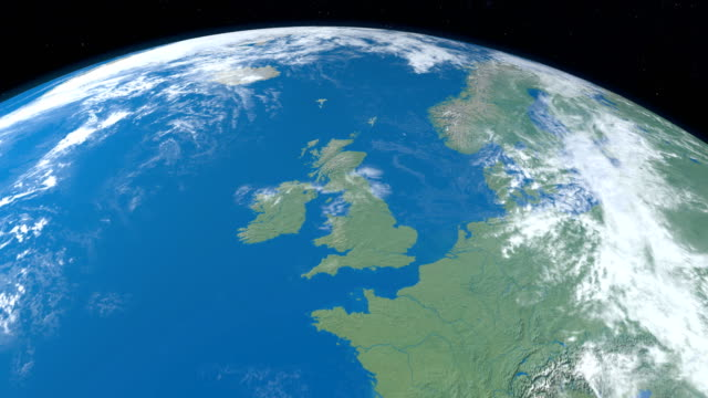 British Islands in planet earth, aerial view from outer space. Animation of British Islands, Great Britain, Ireland, isle of Man, Shetland Islands, Outer Hebrides, Orkeney Islands, Wight Island, Anglesey, in planet earth, view from outer space. scotland stock videos & royalty-free footage
