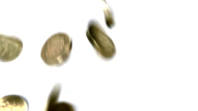 British pound coins falling video