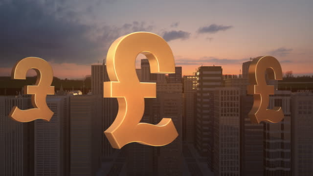 British Pound Sign In The City - Flight Animation Over The Road video