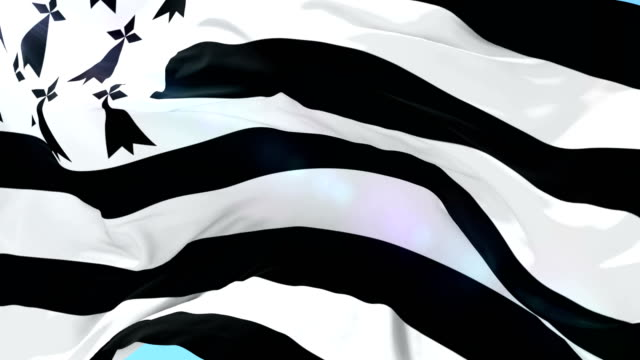 brittany flag waving at wind in slow, loop - logo video stock e b–roll