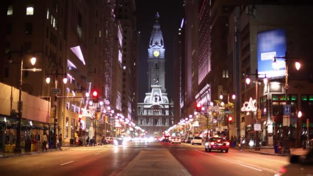Broad Street Philadelphia at night video