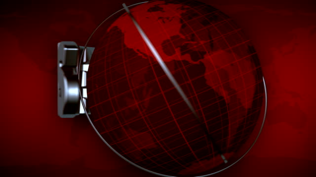 Broadcast news earth globe title animation - Red video