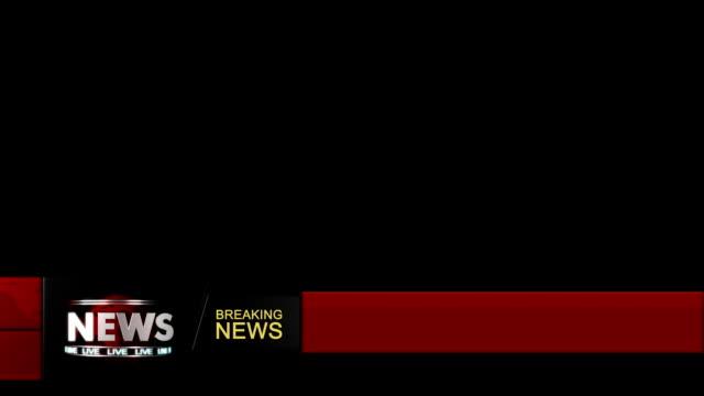 vídeos de stock, filmes e b-roll de noticiários título transição para abaixar terceira (vermelho com alpha - história