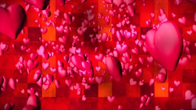 vídeos de stock e filmes b-roll de broadcast romantic bouncing hearts, magenta red, events, 3d, loopable, 4k - coração fraco