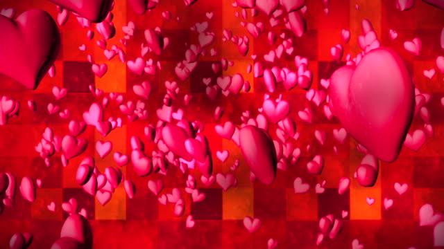 vídeos de stock e filmes b-roll de broadcast romantic bouncing hearts, magenta red, events, 3d, loopable, hd - coração fraco