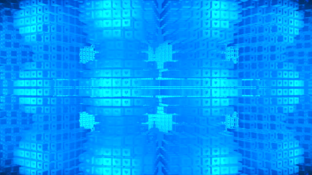 Broadcast Rotating Hi-Tech Cubes Grid Matrix, Blue, Technology, 3D, Loopable, 4K