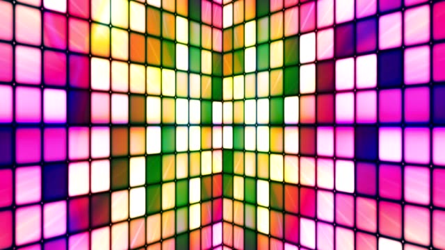 Broadcast Twinkling Hi-Tech Cubes Walls, Multi Color, Abstract video