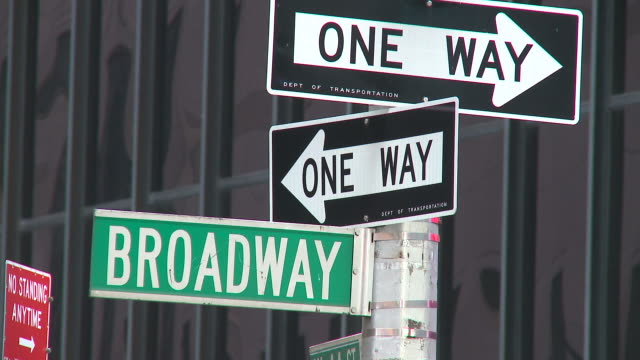 hd: broadway street signs - road signs stock videos and b-roll footage