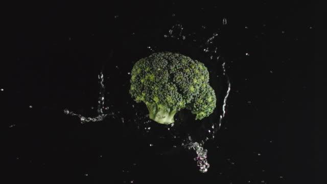 vista dall'alto: broccoli cadono in acqua, schizzi - slow motion - broccolo video stock e b–roll