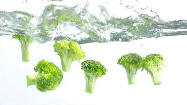 Broccoli Splashing Into Water (Slow Motion) Slow motion shot of fresh Broccoli florets splashing into water.  wasser videos stock videos & royalty-free footage