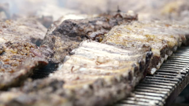 Broiling spare rib video HD video