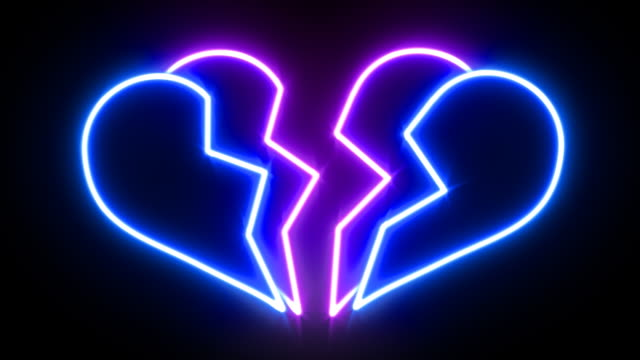 Broken Heart Neon Sign Animating A 10 second loop of a heart shape neon sign breaking in two while changing colors. Loopable. breaking stock videos & royalty-free footage