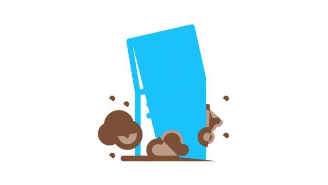 Broken House Building Icon Animation