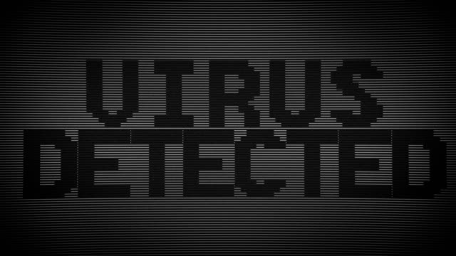 壊れたモニター ウイルスの概念の背景をハッキング - ウイルス対策ソフト点の映像素材/bロール