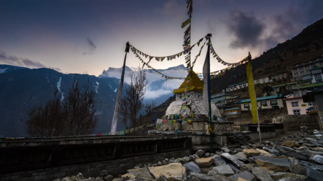 Broken Stupa after Earthquake and Himalayan mountain range in Nepal with Gongde peak background. video