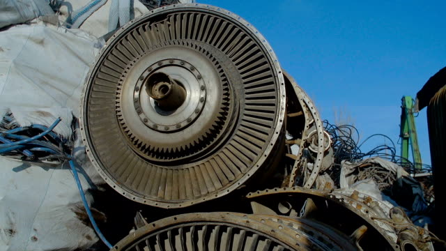 Broken Turbine Among Scrap Metal video