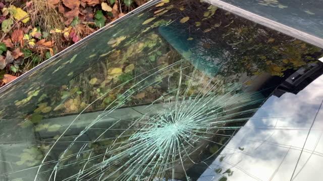 broken windshield on a passenger car