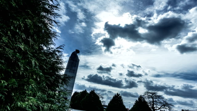 Brooding soldier time lapse : canadian war memorial, Ypres, Belgium video