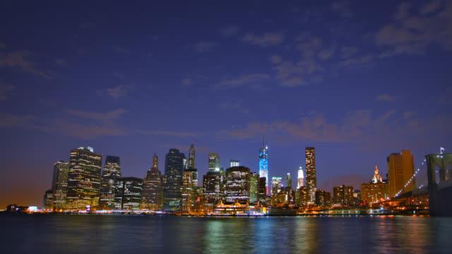 Brooklyn Bridge and Manhattan at sunset video