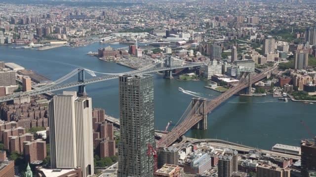 Brooklyn Bridge and Manhattan Bridge New York City, New York, USA manhattan bridge stock videos & royalty-free footage