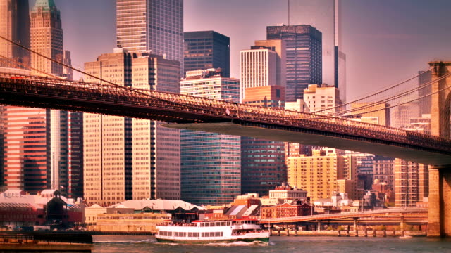 Brooklyn bridge and Manhattan downtown New York. USA. manhattan bridge stock videos & royalty-free footage