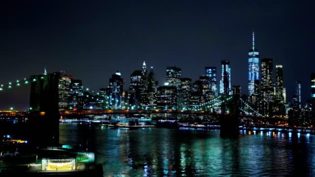 Brooklyn bridge and Manhattan financial district aerial view