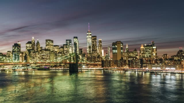 T/L WS ZO Brooklyn Bridge and Manhattan skyline at Night / New York, USA video