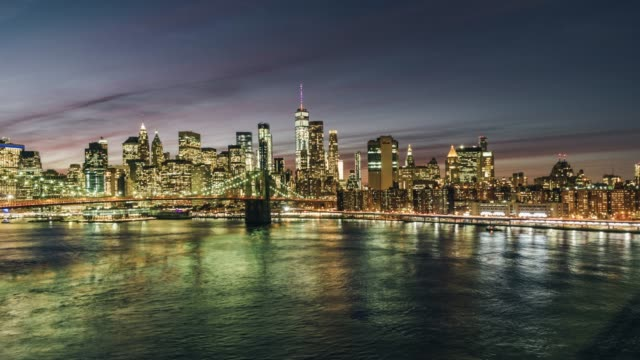 T/L WS Brooklyn Bridge and Manhattan skyline at Night / New York, USA video