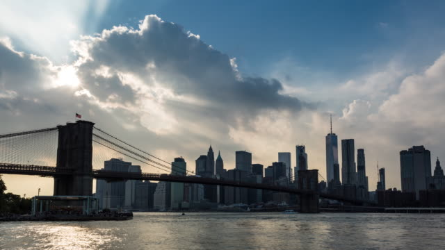 Brooklyn Bridge and Manhattan Skyline with Clouds Day Timelapse video