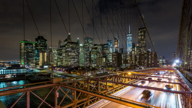 Brooklyn Bridge and New York City Skyline Night Timelapse video