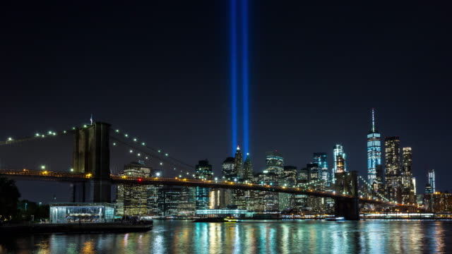 Brooklyn Bridge and New York Skyline Night Timelapse September 11th Tribute video