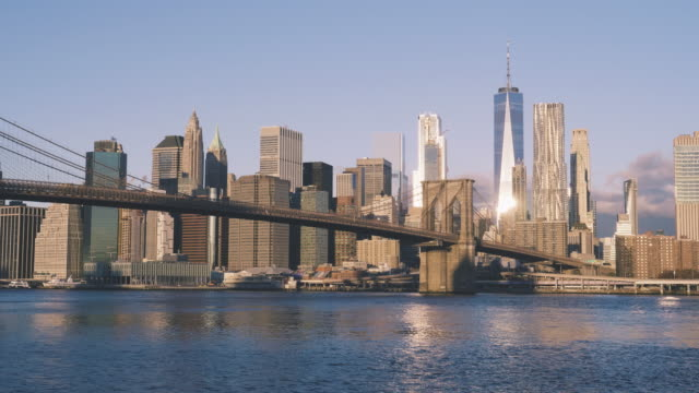 Brooklyn Bridge and NYC Skyline during Sunrise video