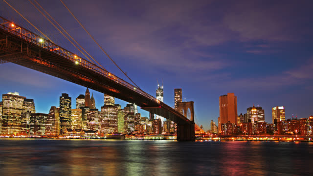 Brooklyn Bridge at night video