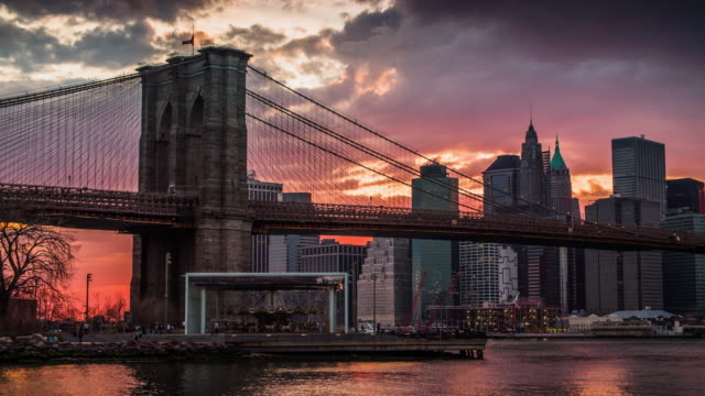 Brooklyn Bridge at sunset - New York Manhattan Skyline video