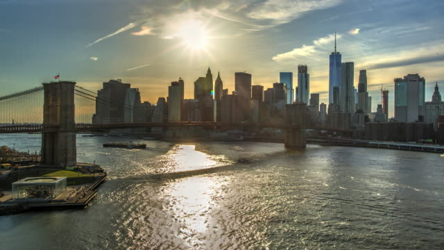 Brooklyn bridge day sunset New York City time lapse video