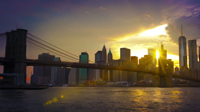 Brooklyn Bridge, freedom tower, and sun rays video