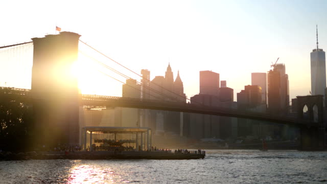 Brooklyn Bridge in New York at sunset in 4K Slow motion 60fps video