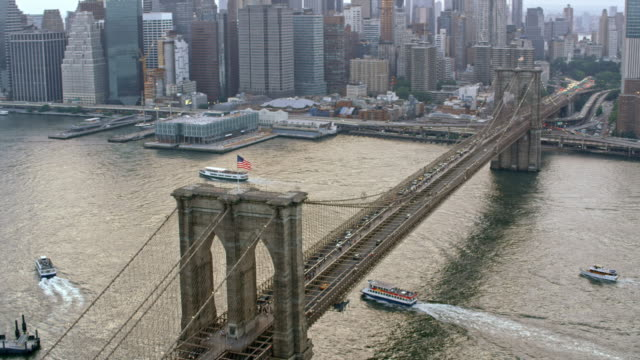 AERIAL Brooklyn Bridge over East River video