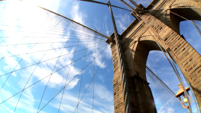 Brooklyn Bridge  USA Fish-eye high-angle view of cables & supports of Brooklyn Bridge, New York City, USA neo gothic architecture stock videos & royalty-free footage