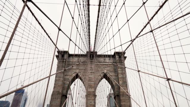 brooklyn bridge - cavo d'acciaio video stock e b–roll