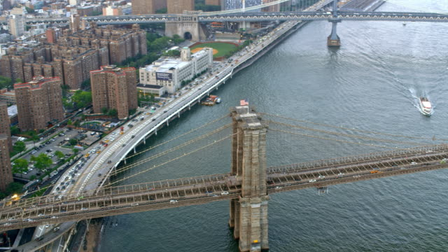 AERIAL Brooklyn Bridge with Manhattan Bridge in the background Aerial shot of the Brooklyn Bridge and the nearby Manhattan Bridge. Shot in NYC, USA. manhattan bridge stock videos & royalty-free footage