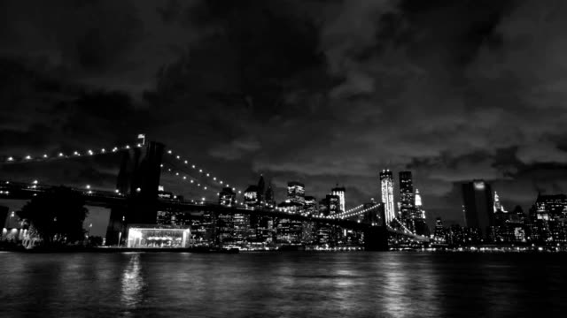 Brooklyn Bridge Zoom 6) Zooming time lapse of Brooklyn bridge in New York. black and white architecture stock videos & royalty-free footage